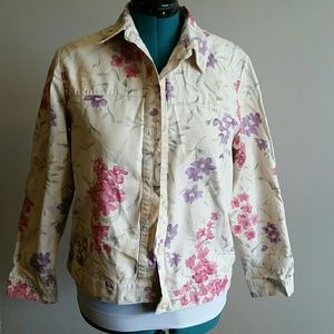 EUC tan, pink, purple and green Jean style jacket